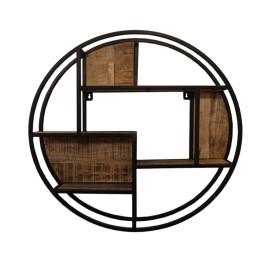 Rond wandrek van hout en metaal