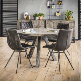 Ronde eettafel antique greywash