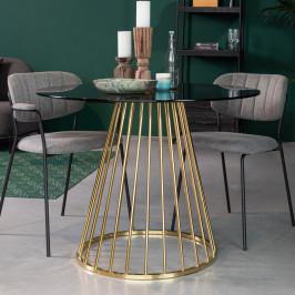Ronde eettafel glas met goud