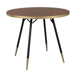 Ronde eettafel walnoot en messing
