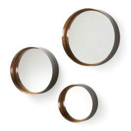 Ronde spiegels brons set van 3
