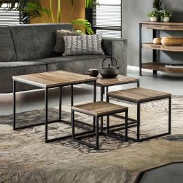 Set van 4 salontafels teak