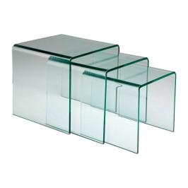 Set van drie glazen bijzettafels