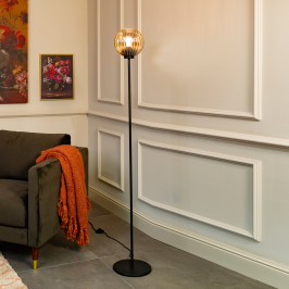 Sfeervolle vloerlamp ribbelglas