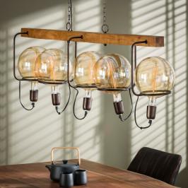 Stoere hanglamp hout en staal