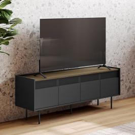 Zwart tv-meubel met houten blad