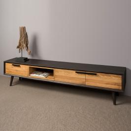 Retro tv-meubel eikenhout 200 cm