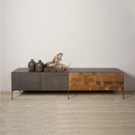 Tv-meubel metaal en hout 2D