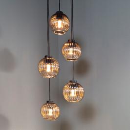 Trapse hanglamp geribbeld glas