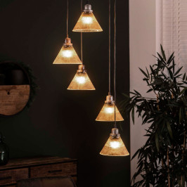 Trapse hanglamp met ribbelglas