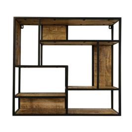 Vierkant wandrek van hout en metaal