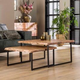 Vierkante boomstam salontafel set
