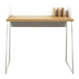 Compact bureau wit met hout