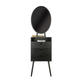 Zwart kastje met lades en spiegel