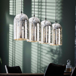 Zilveren hanglamp van glas