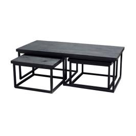 Zwarte houten salontafelset