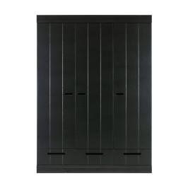 Zwarte kledingkast 3-deurs met lades