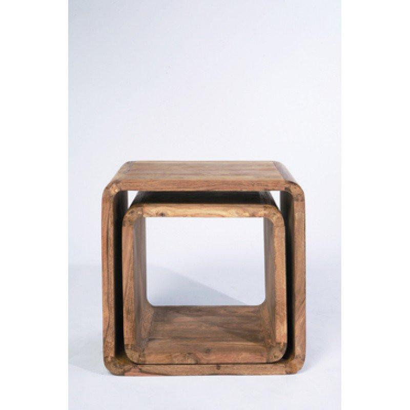 bijzettafelset hout authentico cube. Black Bedroom Furniture Sets. Home Design Ideas