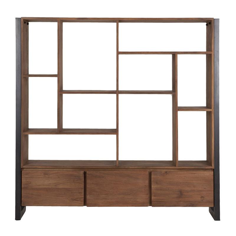 D bodhi fendy brede boekenkast van hout onlinedesignmeubel - Boekenkast hout en ijzer ...