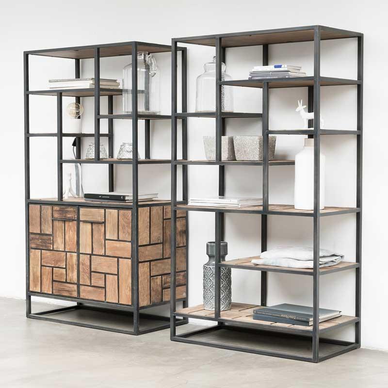 d Bodhi Mondrian   Industriele wandkast van teakhout   Onlinedesignmeubel