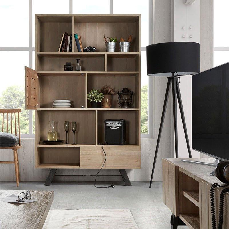Kave home tiva boekenkast van acaciahout laforma vita for Boekenkast design