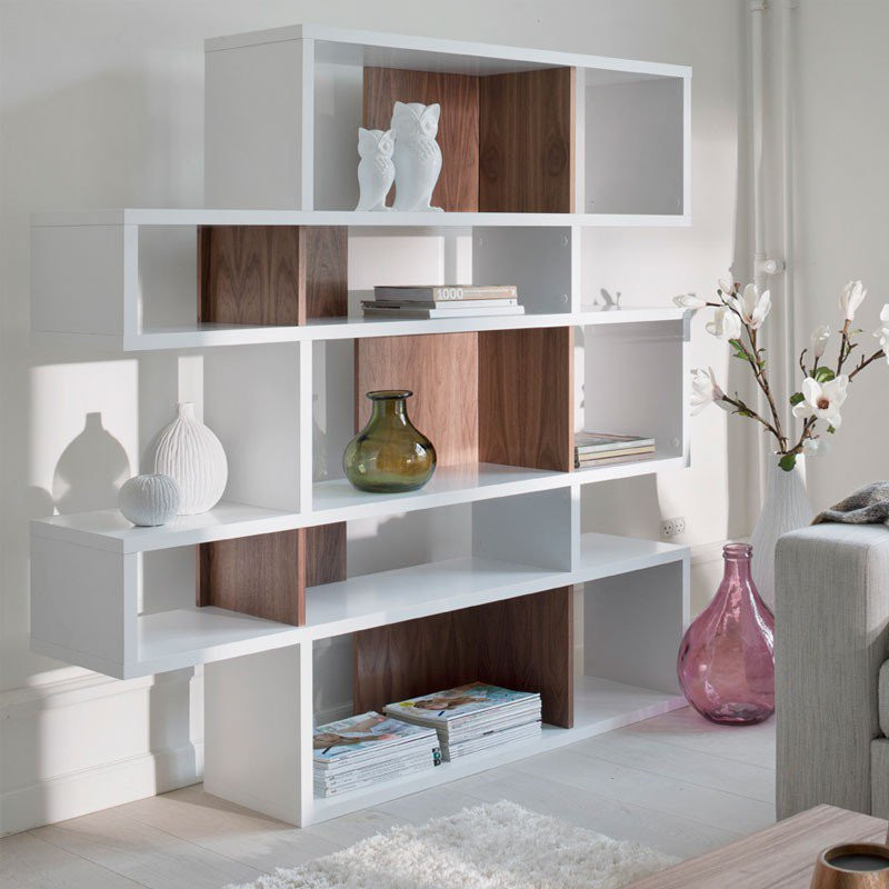 design boekenkast wit walnoot