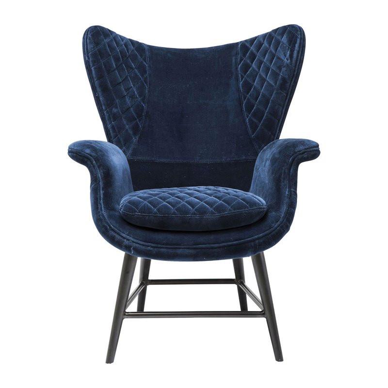 Design fauteuil fluweel tudor blue - Comfortabele fauteuils ...