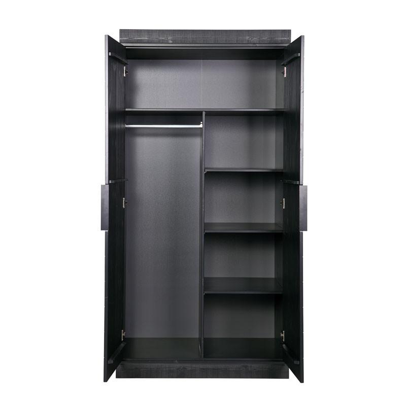 Zwarte kledingkast 2 deurs extra woood lovis for Kledingkast karwei