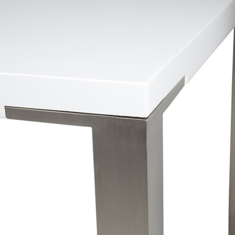Design tafel wit met rvs woood palau - Tafel met chevet ...