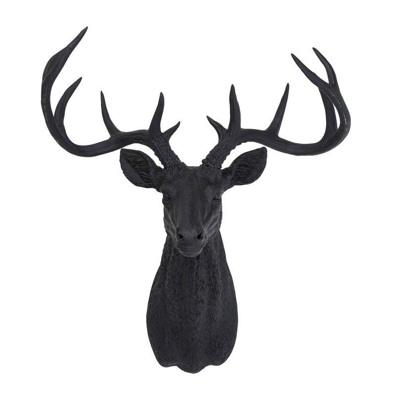 Hertenkop deer rubber black kopen for Decoratie hertengewei