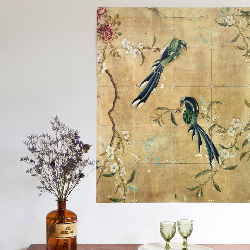ixxi chinese wallpaper brown wanddecoratie met vogels lumz