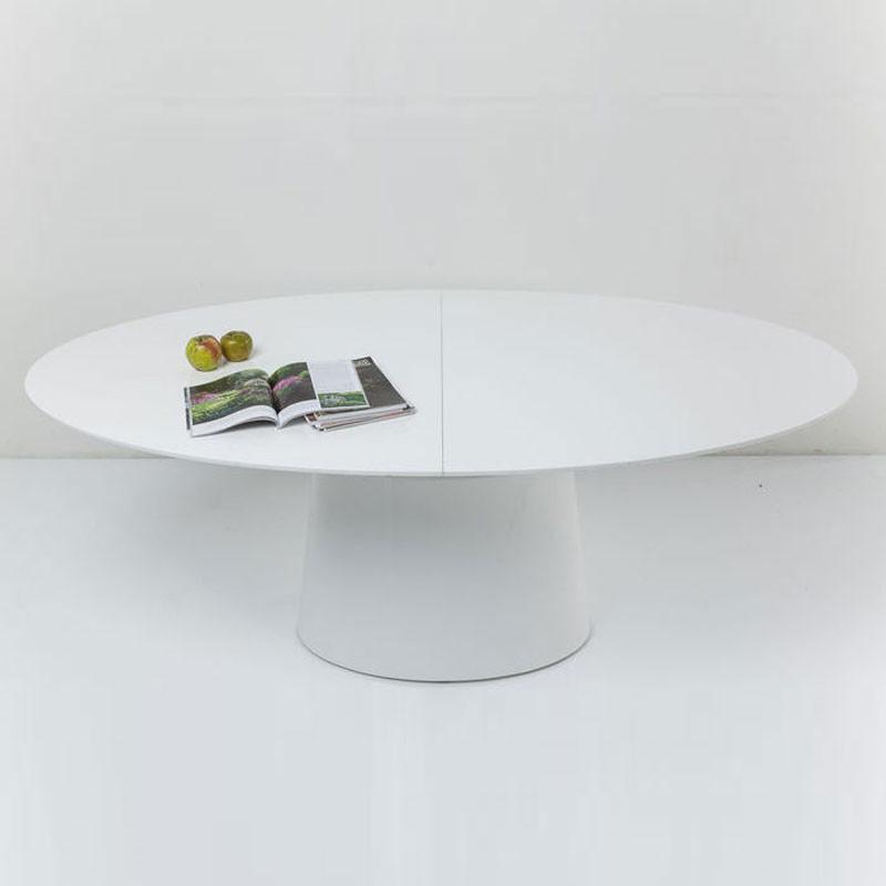 Ronde Witte Eettafel Design.Witte Verstelbare Eettafel Ovaal