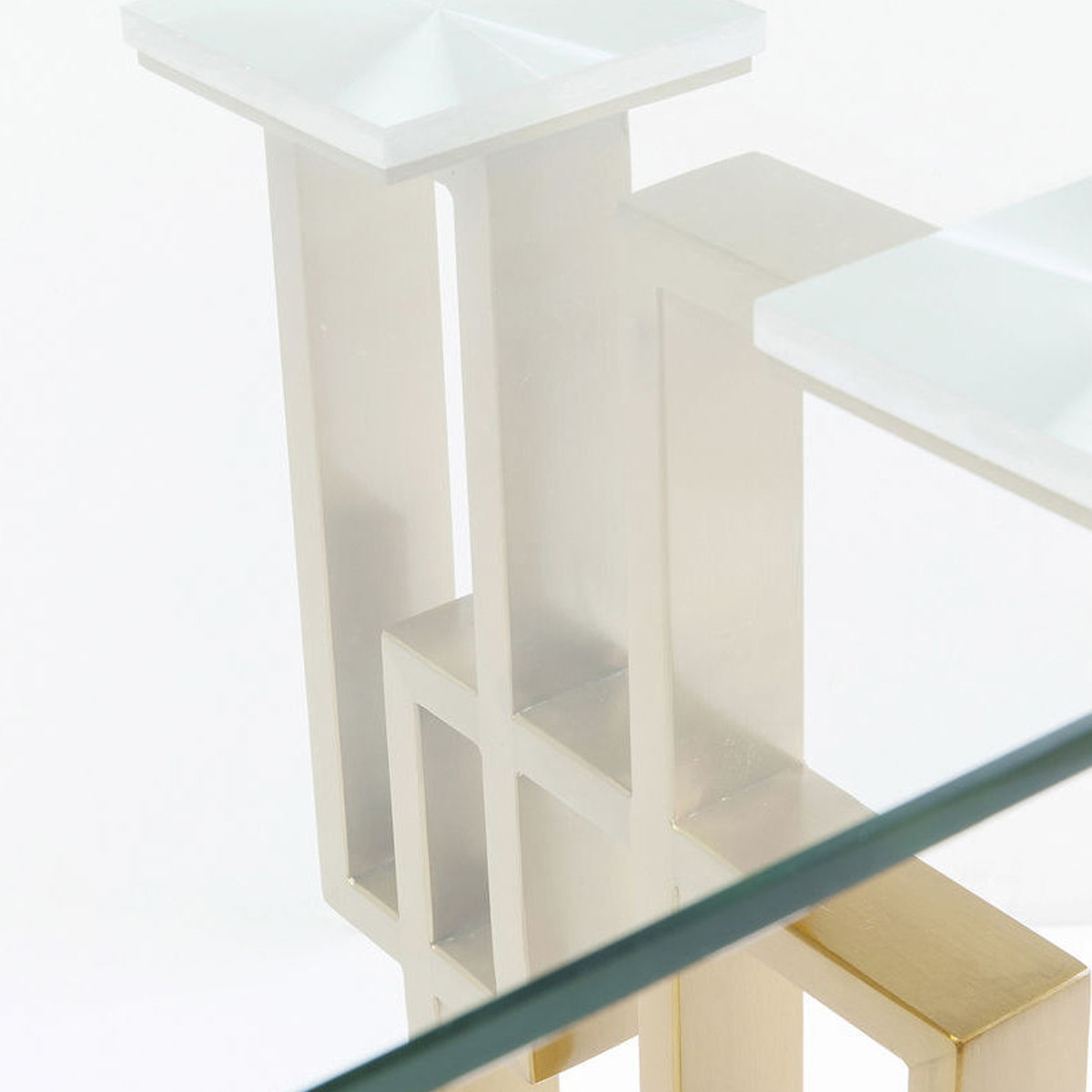 Glazen Design Sidetable.Glazen Sidetable Met Goud