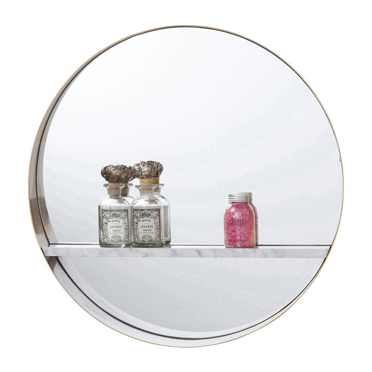 kare design hipster ronde spiegel met plank 83807 lumz. Black Bedroom Furniture Sets. Home Design Ideas