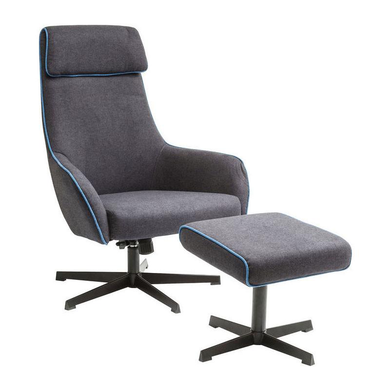 kare design long island grijze fauteuil met voetenbank lumz. Black Bedroom Furniture Sets. Home Design Ideas