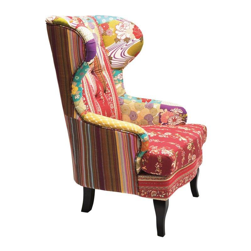 kleurrijk fauteuil patchwork red kopen. Black Bedroom Furniture Sets. Home Design Ideas