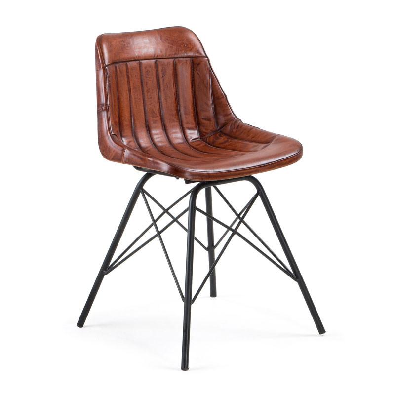 Kave home trent vintage leren stoel laforma tribu for Leren stoel