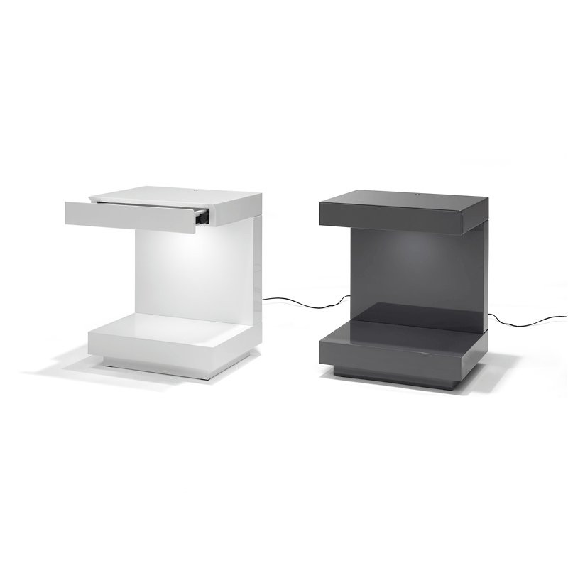 Nachtkastje met lade en Led verlichting   Onlinedesignmeubel nl