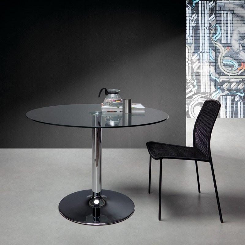 kave home fany ronde tafel van glas en chroom laforma