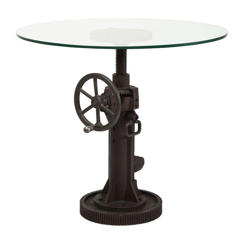ronde tafel gietijzer glas crank