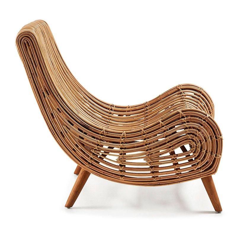 kave home tika rotan fauteuil met mahonie poten laforma akit c478f11 lumz. Black Bedroom Furniture Sets. Home Design Ideas