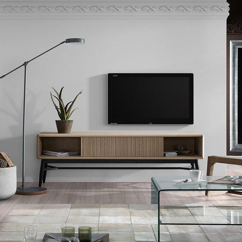 Kave home drihxen eiken tv meubel laforma hendrix hx003m40 for Eiken tv meubel