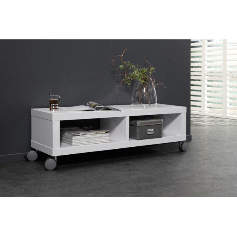 Hoogglans verrijdbaar tv meubel giani fiore for Witte eetkamerstoelen op wieltjes