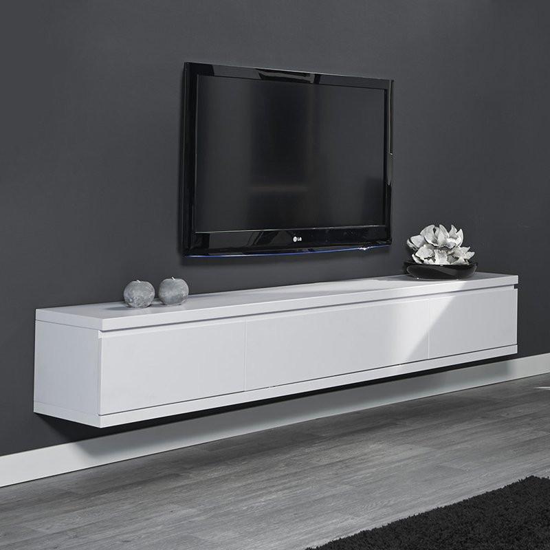 Tv meubel hangend wit giani laret for Tv meubel design