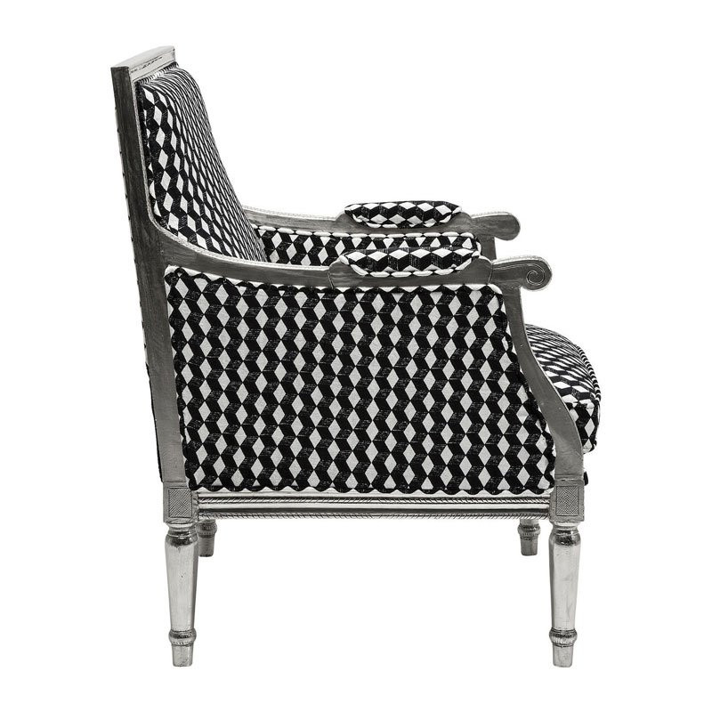 Zwart witte fauteuil regency caro - Zwart design lounge en witte ...