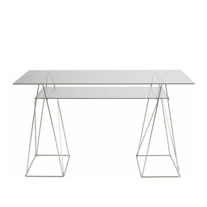 Modern bureau met twee glasplaten