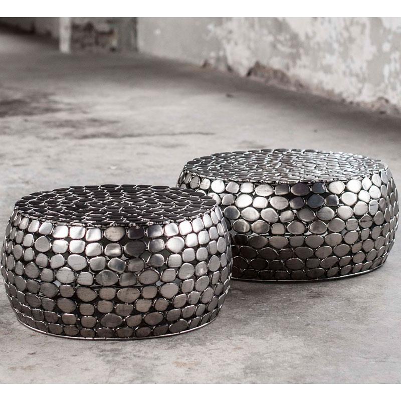 Nikkel salontafelset met zilveren kiezels