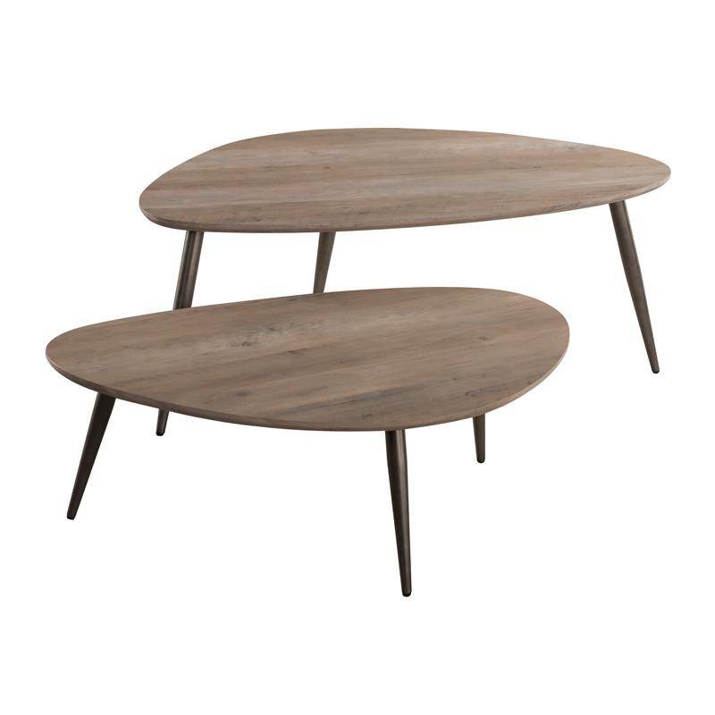 Houten set van twee salontafels XL