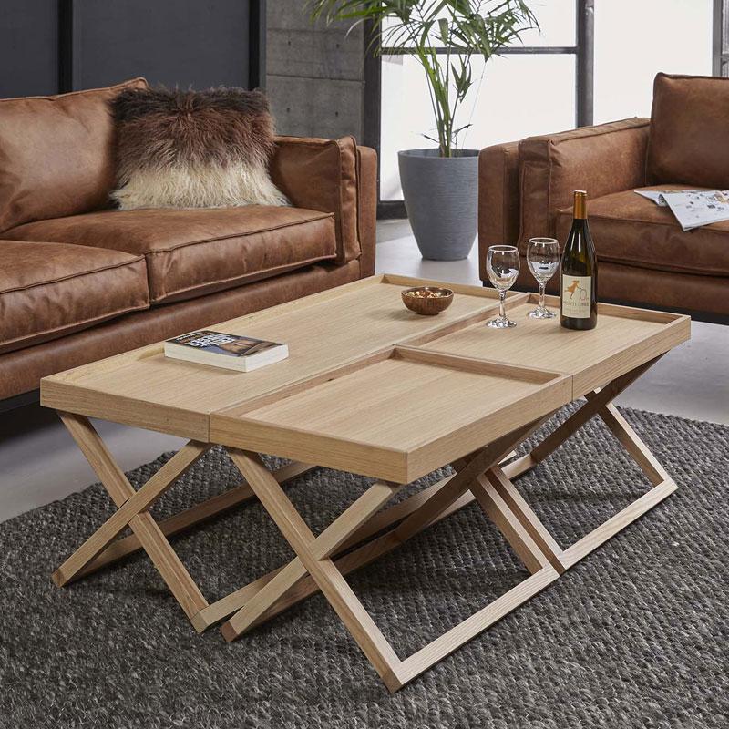 Eiken salontafelset met dienbladen