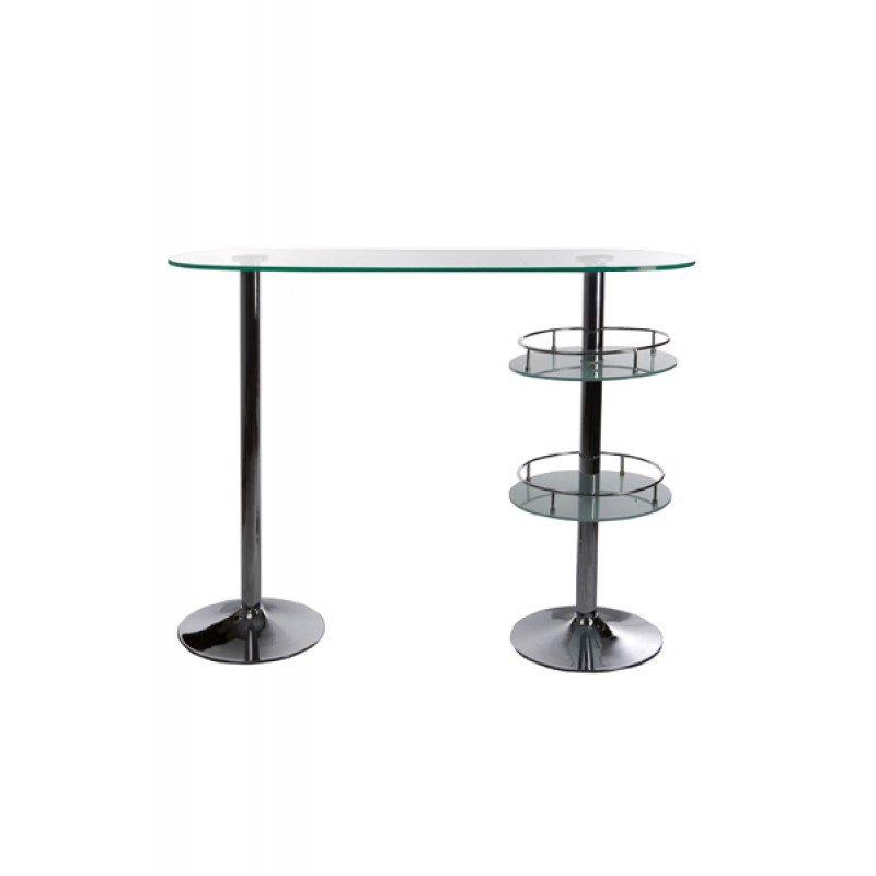 Glazen design bartafel met chromen onderstel
